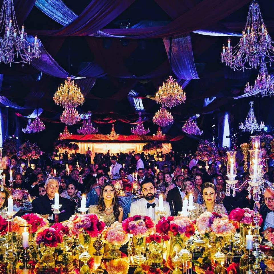 wedding decor with bride and groom