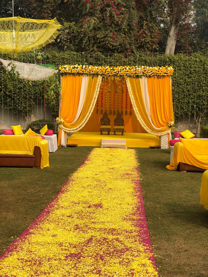 bold yellow wedding mandap theme