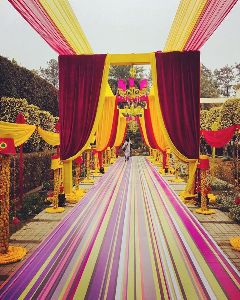 colourful cloth drapping wedding entance decoration