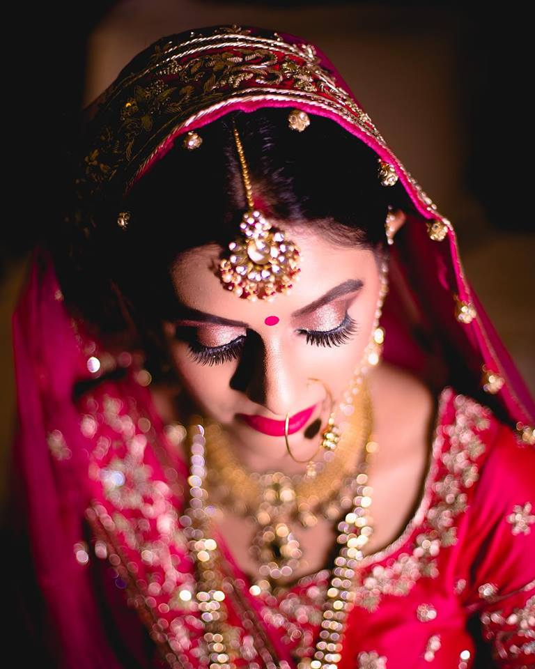 Eye Makeup with Red Lehenga