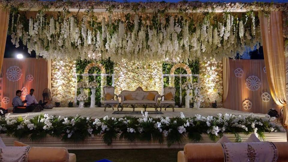 floral wedding stage view
