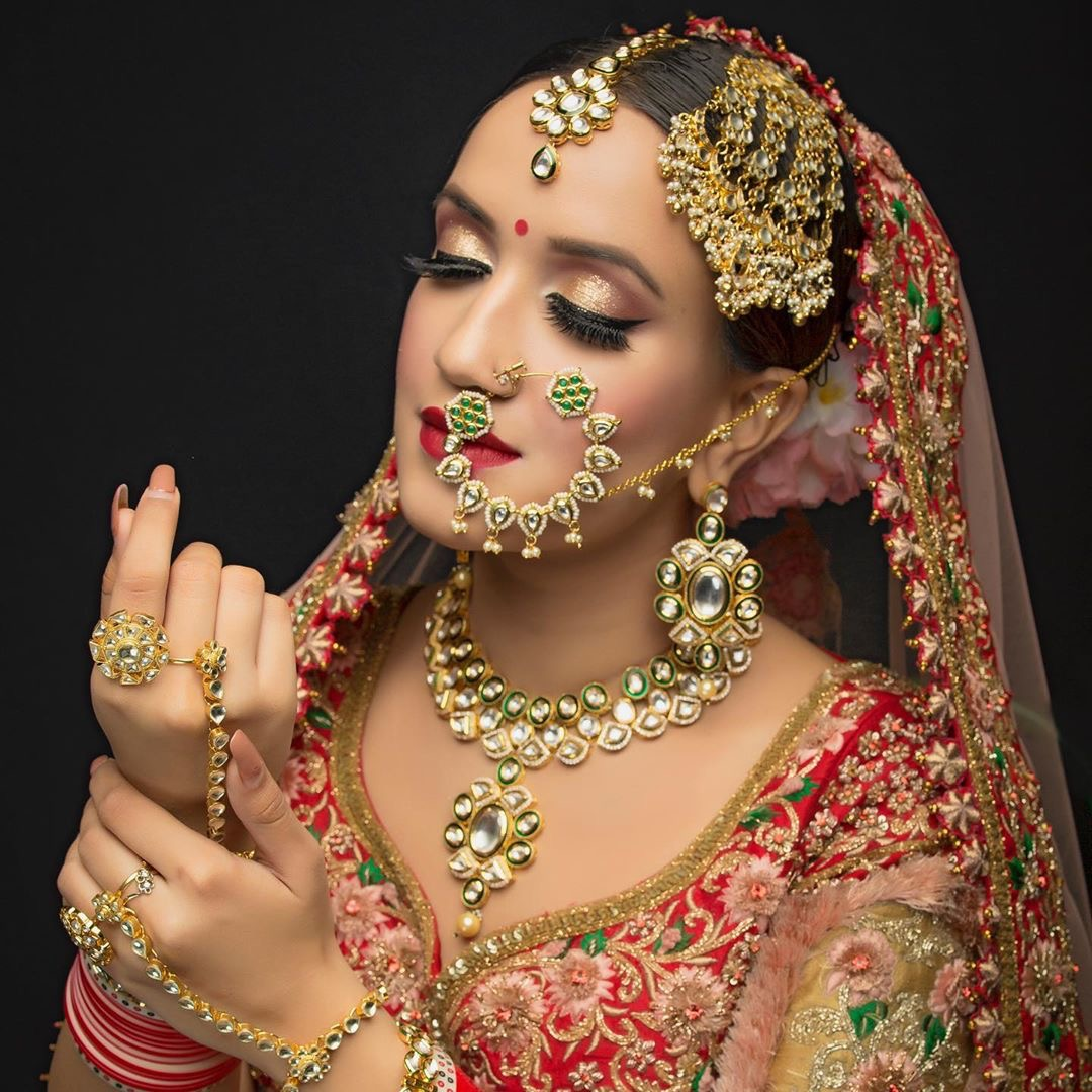 beautiful bride with shimmery eye makeup