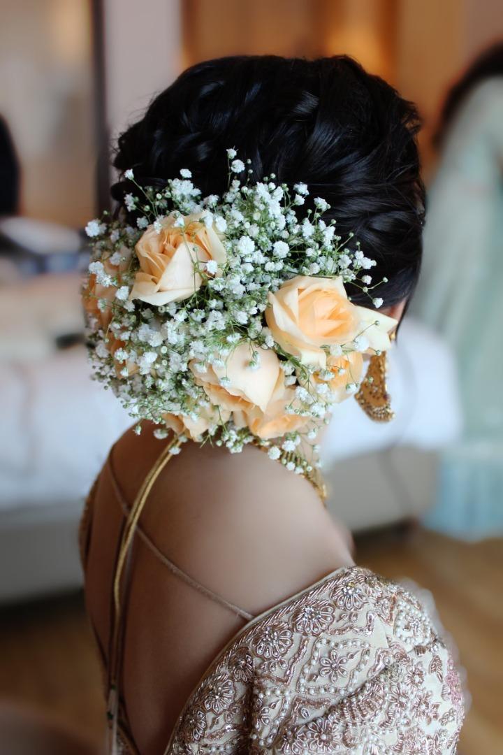 beautiful floral bridal bun