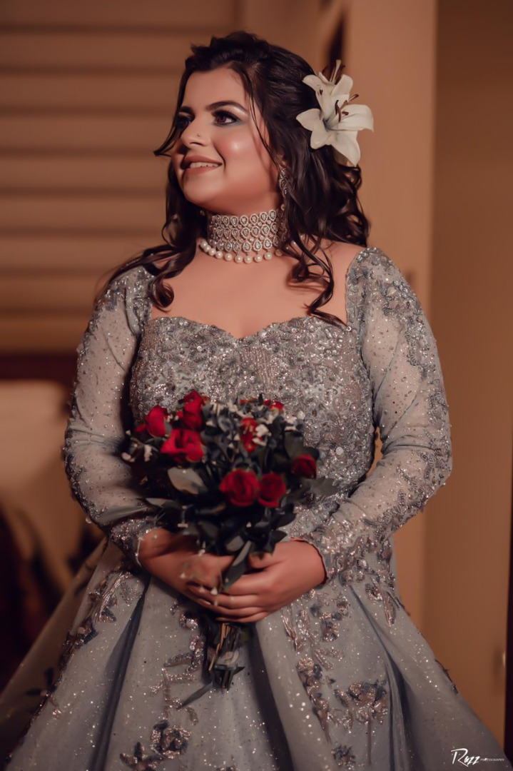 bride in silver gown