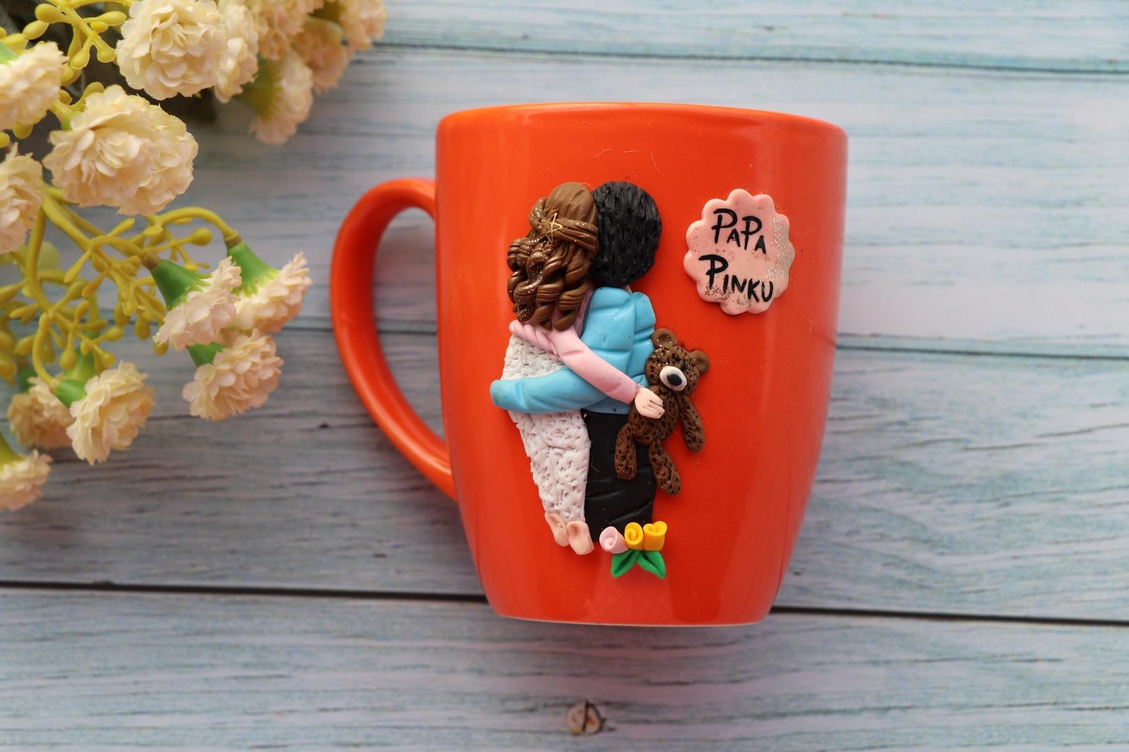 adorable coffee mug with cute caricature