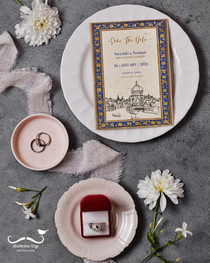 beautiful save the date wedding card