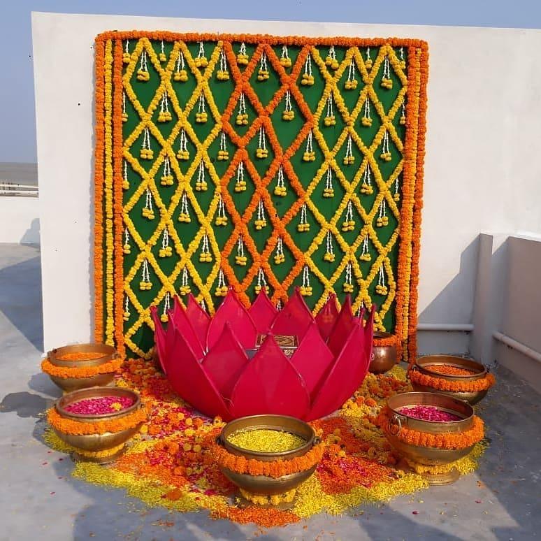 marigold decor for haldi