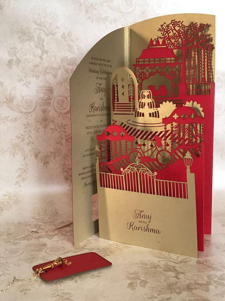 Red & Gold Laser Cut Wedding Invitation Card