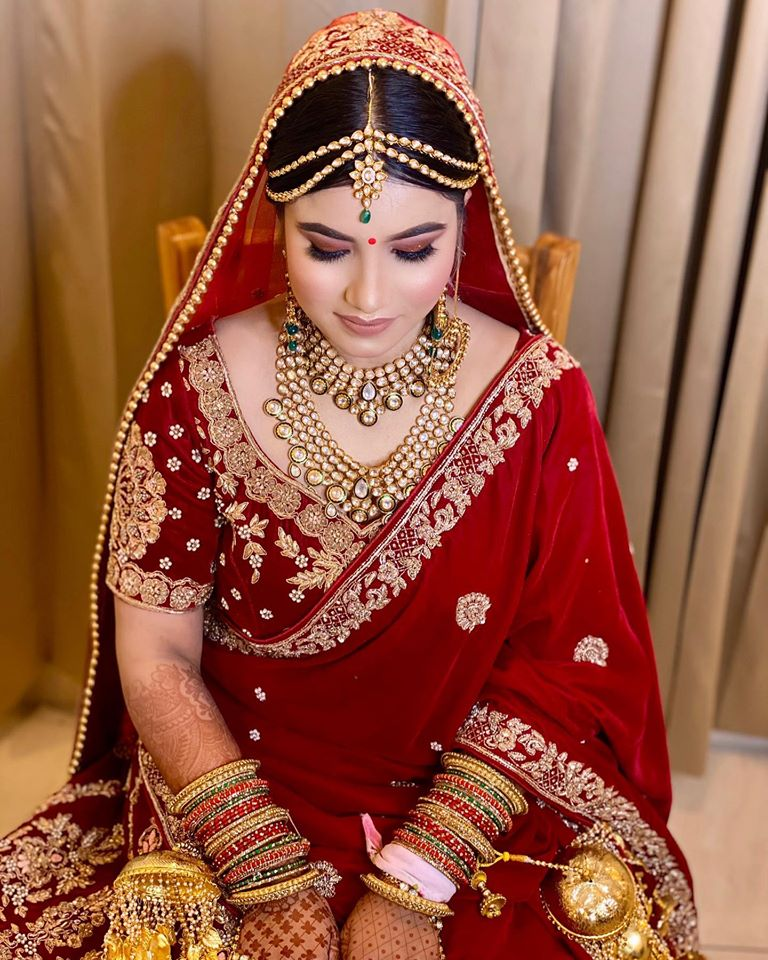 Classic Red Makeup with Red Indian Bridal Lehenga