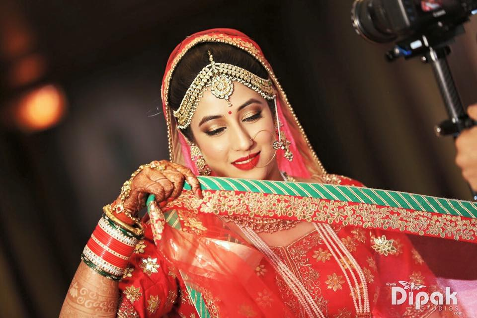 Bridal Makeup with Dark Red Lehenga