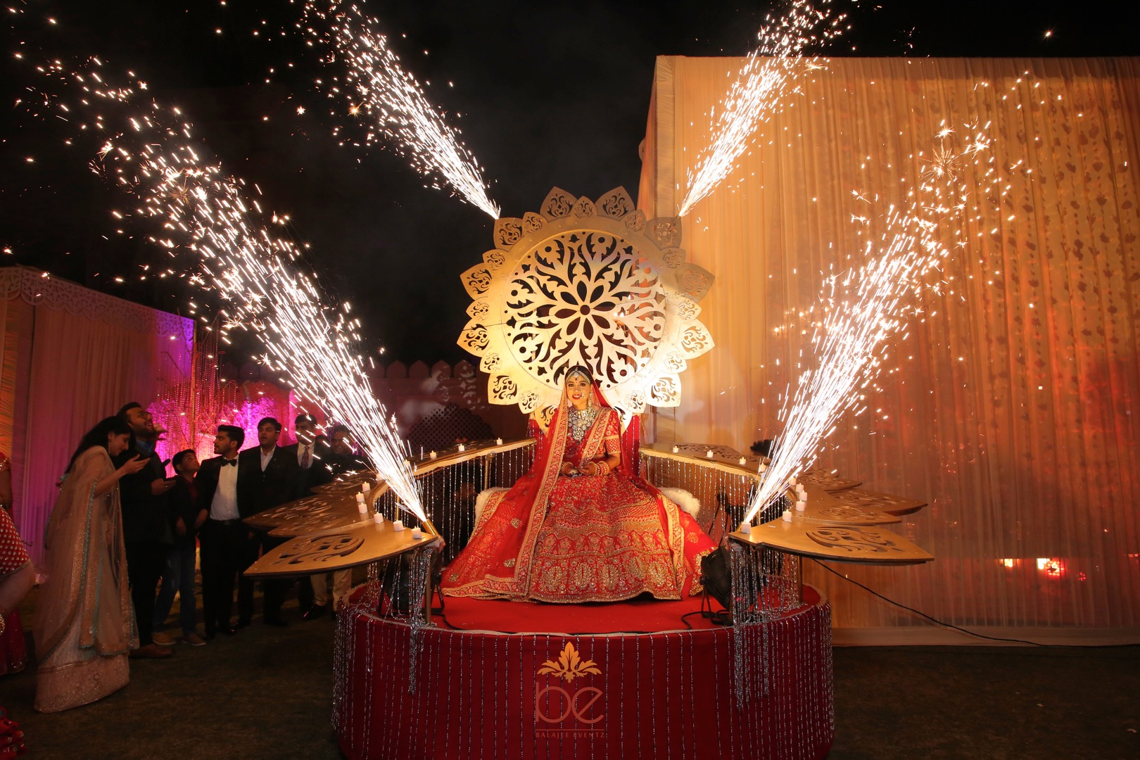 Majestic Bridal Entry in Huge Golden Paalki with Fireworks