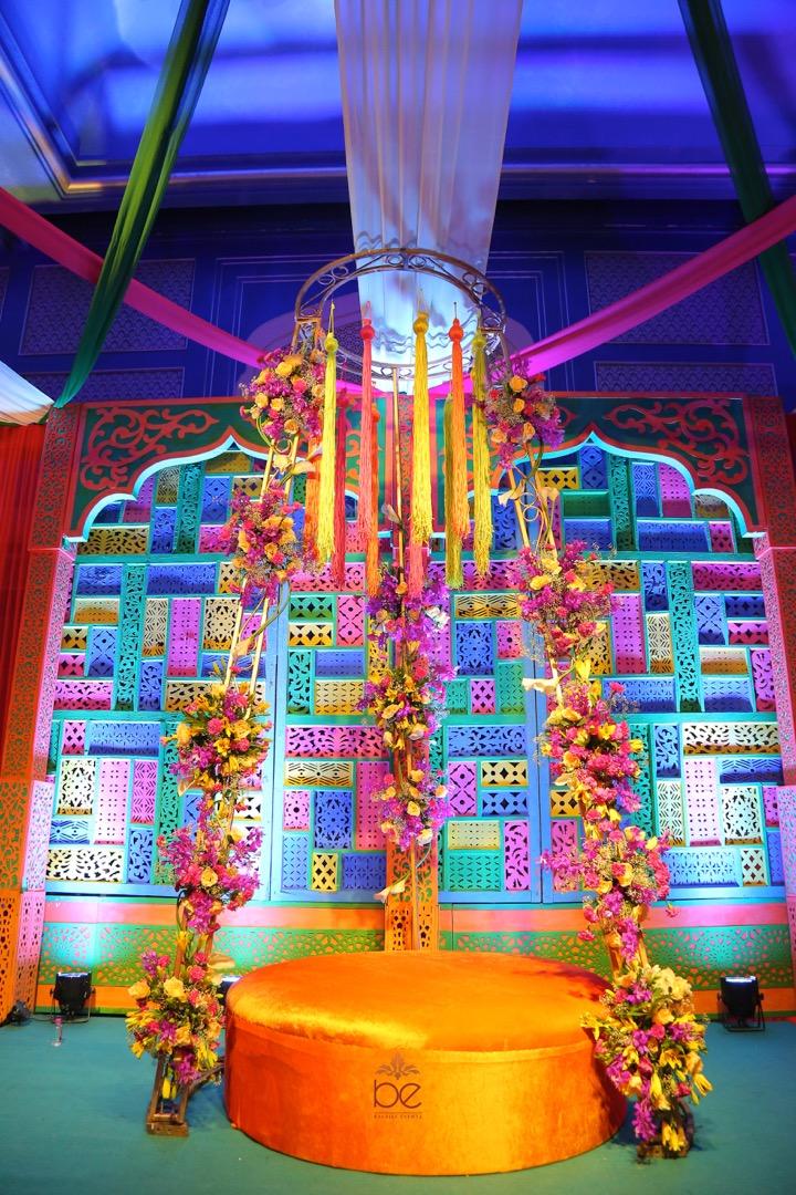 Colorful Mehendi Seating Setup