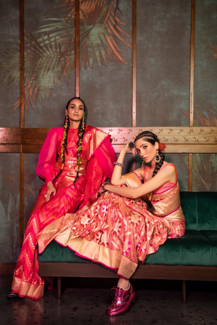 pink banarsi saree