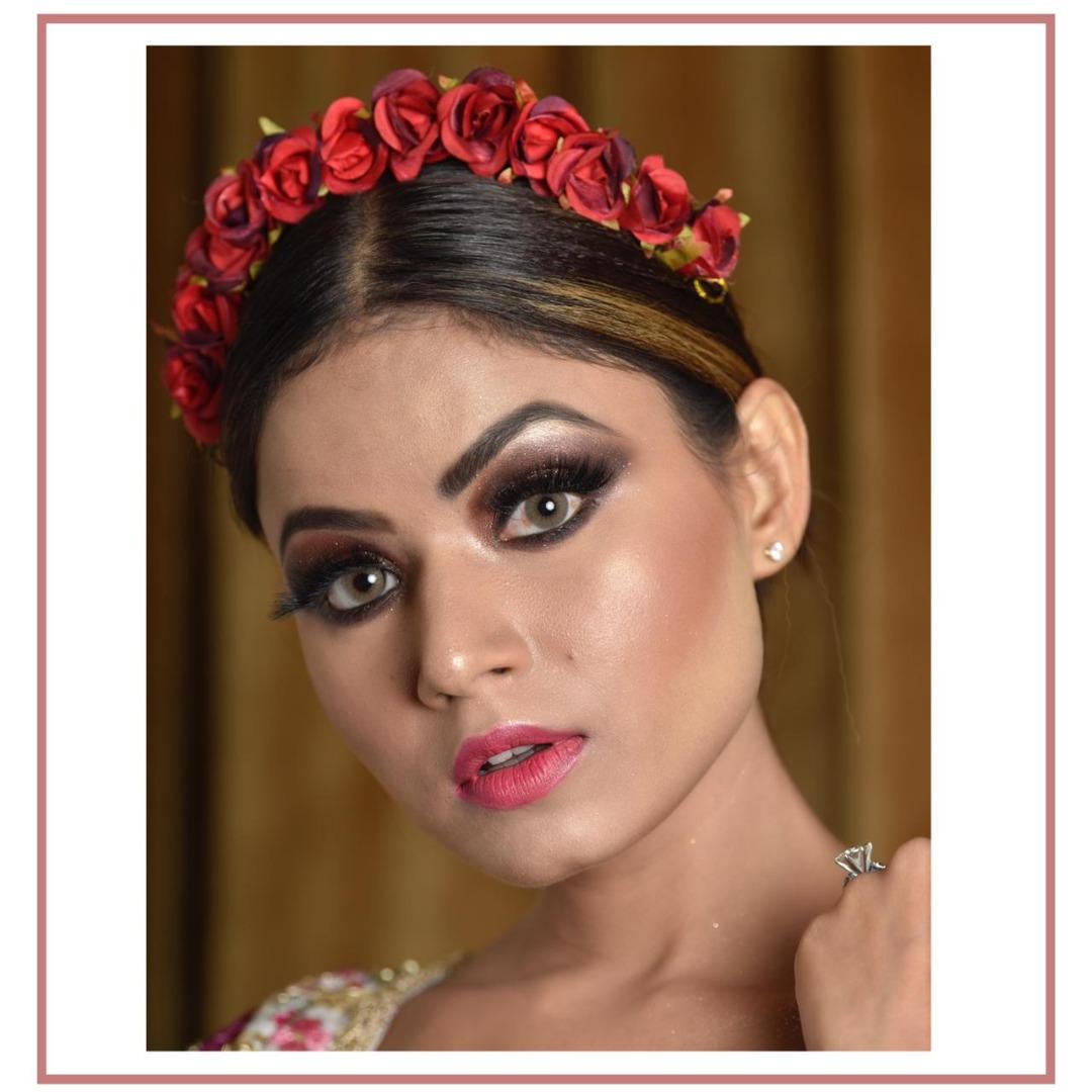 smokey eye makeup and floral tiara