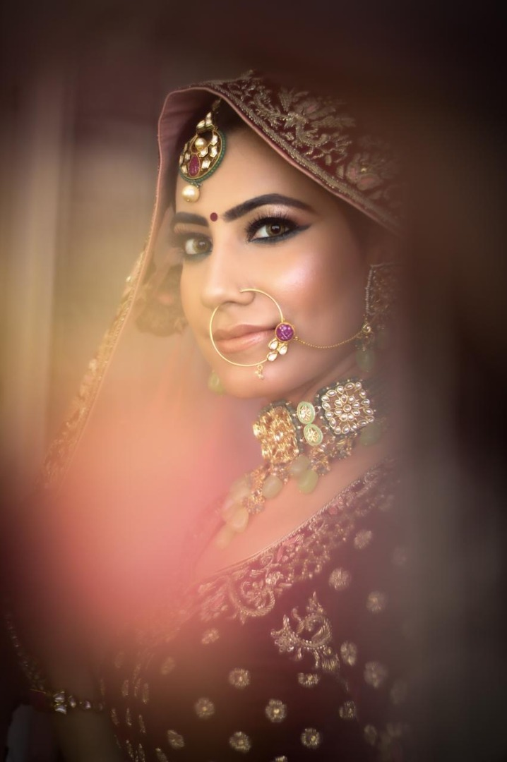 close up shot of the bride