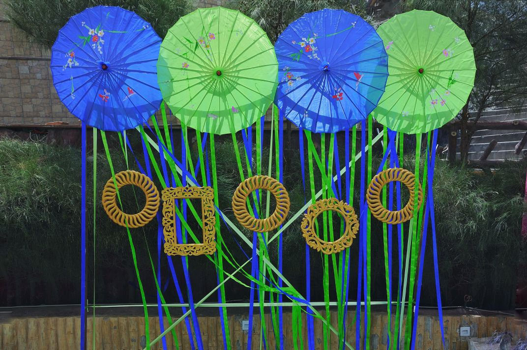 pinwheels in blue and green as decor