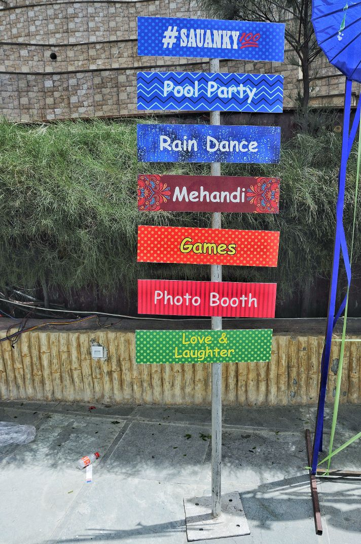 colorful signage with directions
