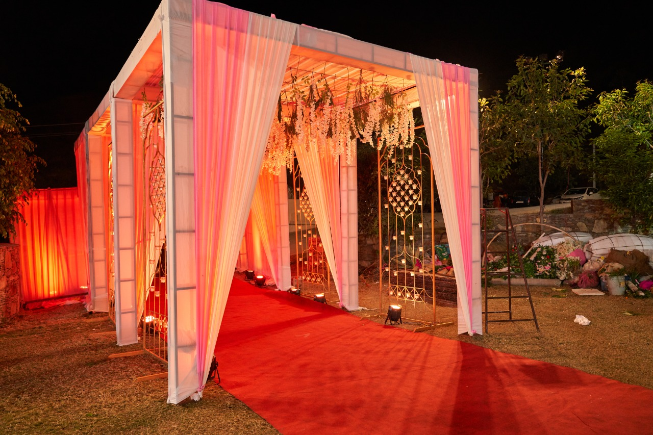 beautiful entrance decorated with in pastel shades and flowers