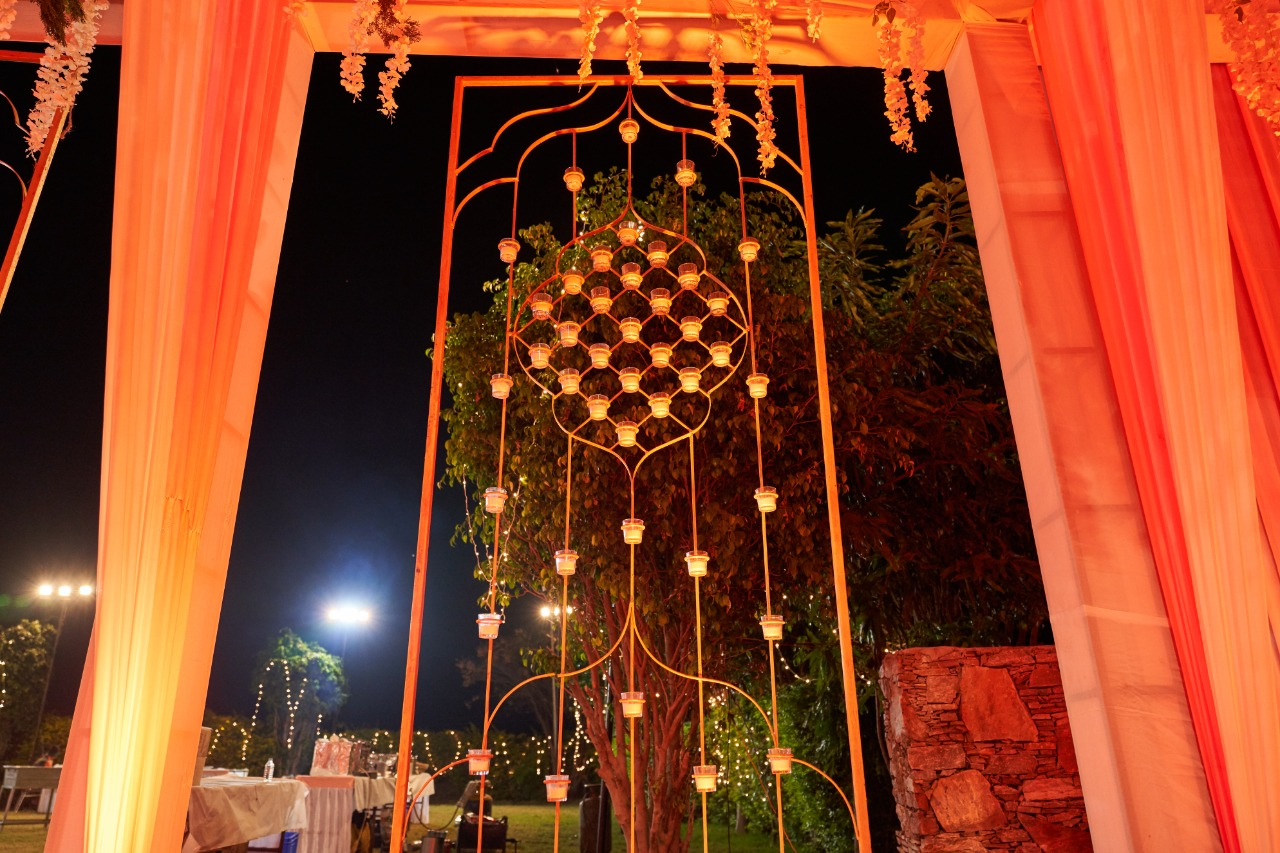 entrance decorated with golden decor