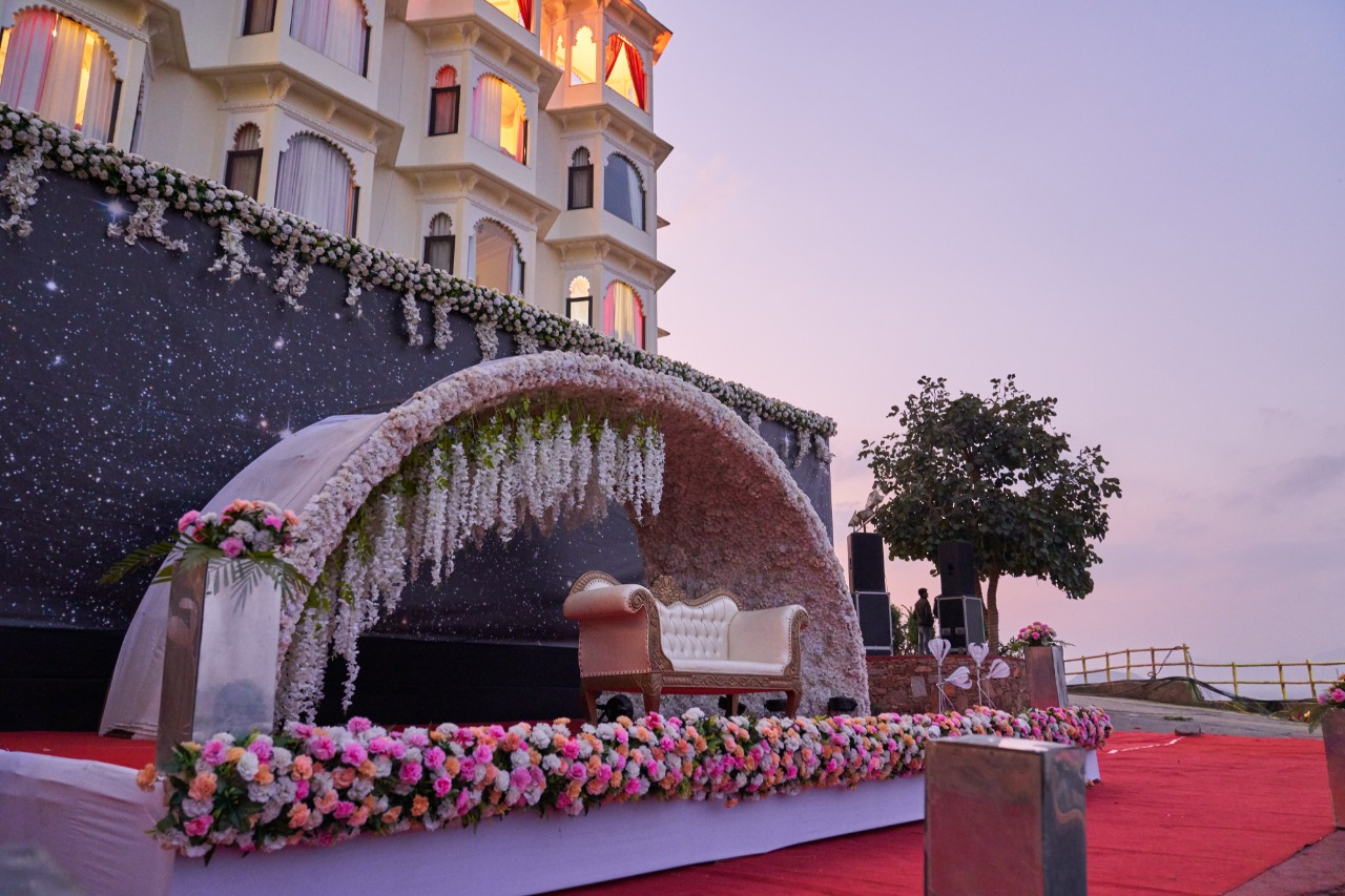 floral mandap for day time ceremony