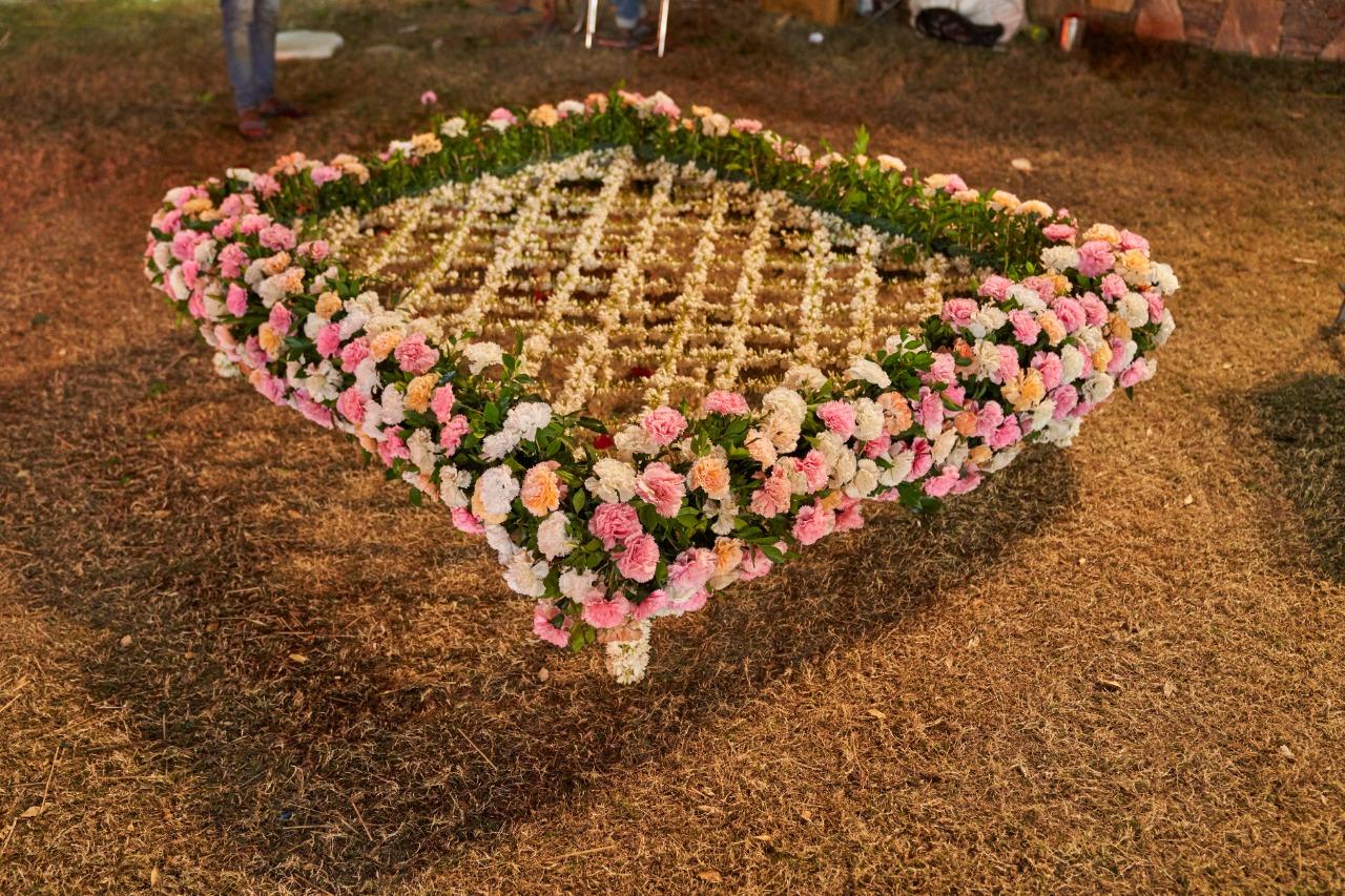 floral chhatri for the bride's entrance