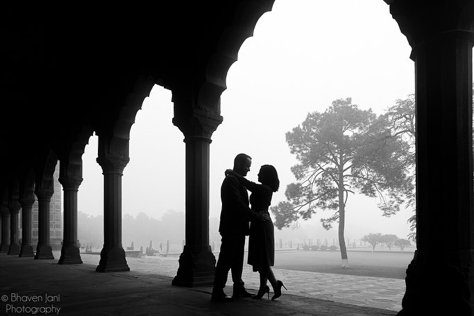 Black & White Pre Wedding Couple Shadow Photography