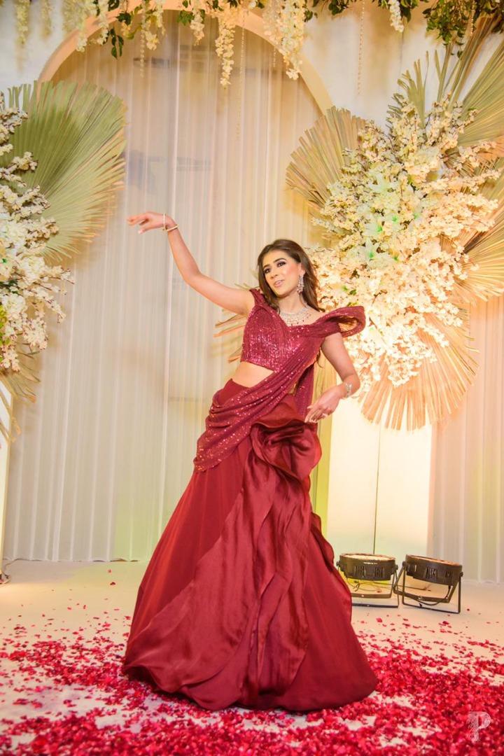 bride in red dancing