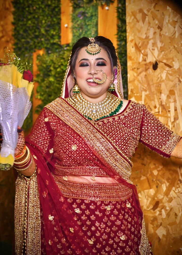 happy bride in red