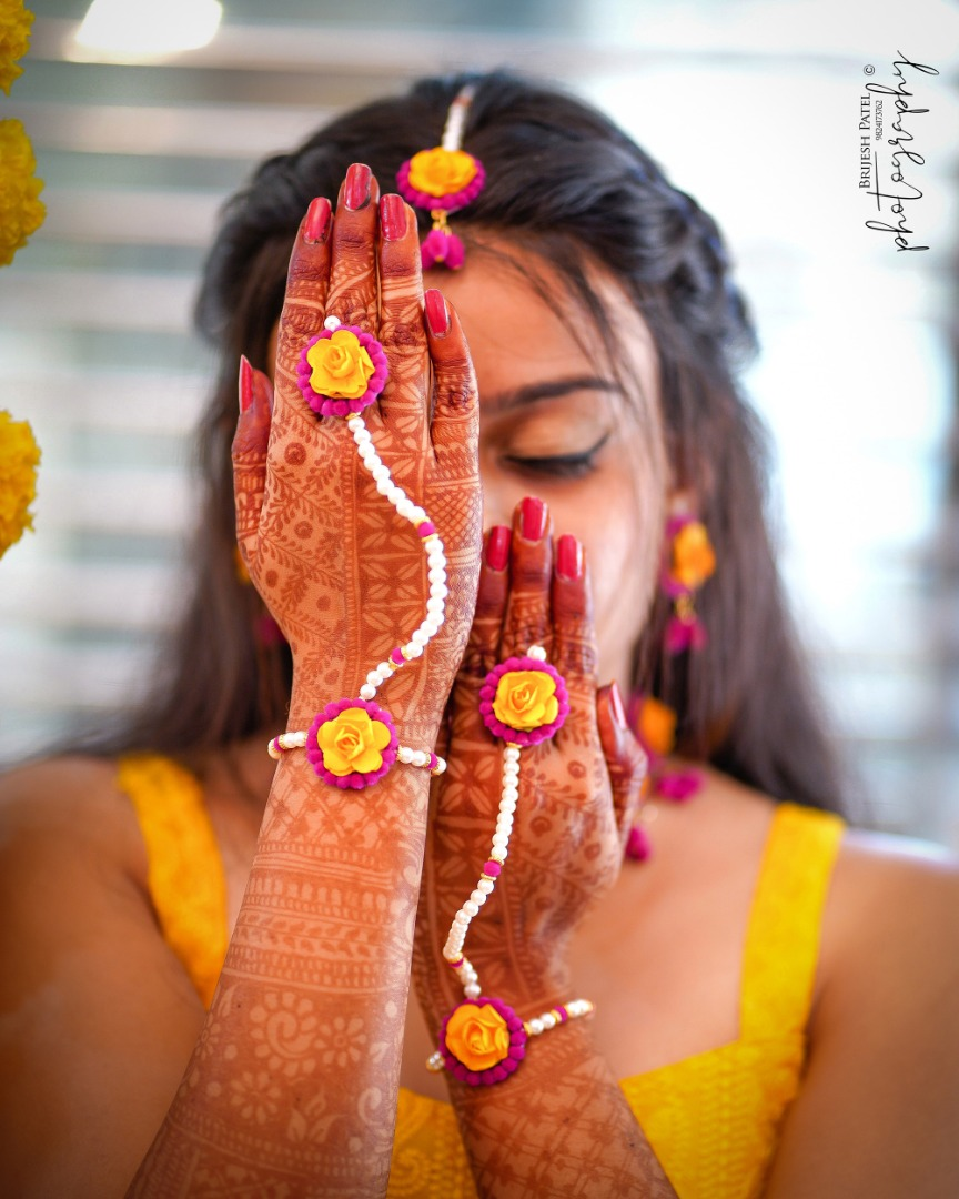 Bridal Portrait Picture in Yellow Outfit & Floral Jewellery