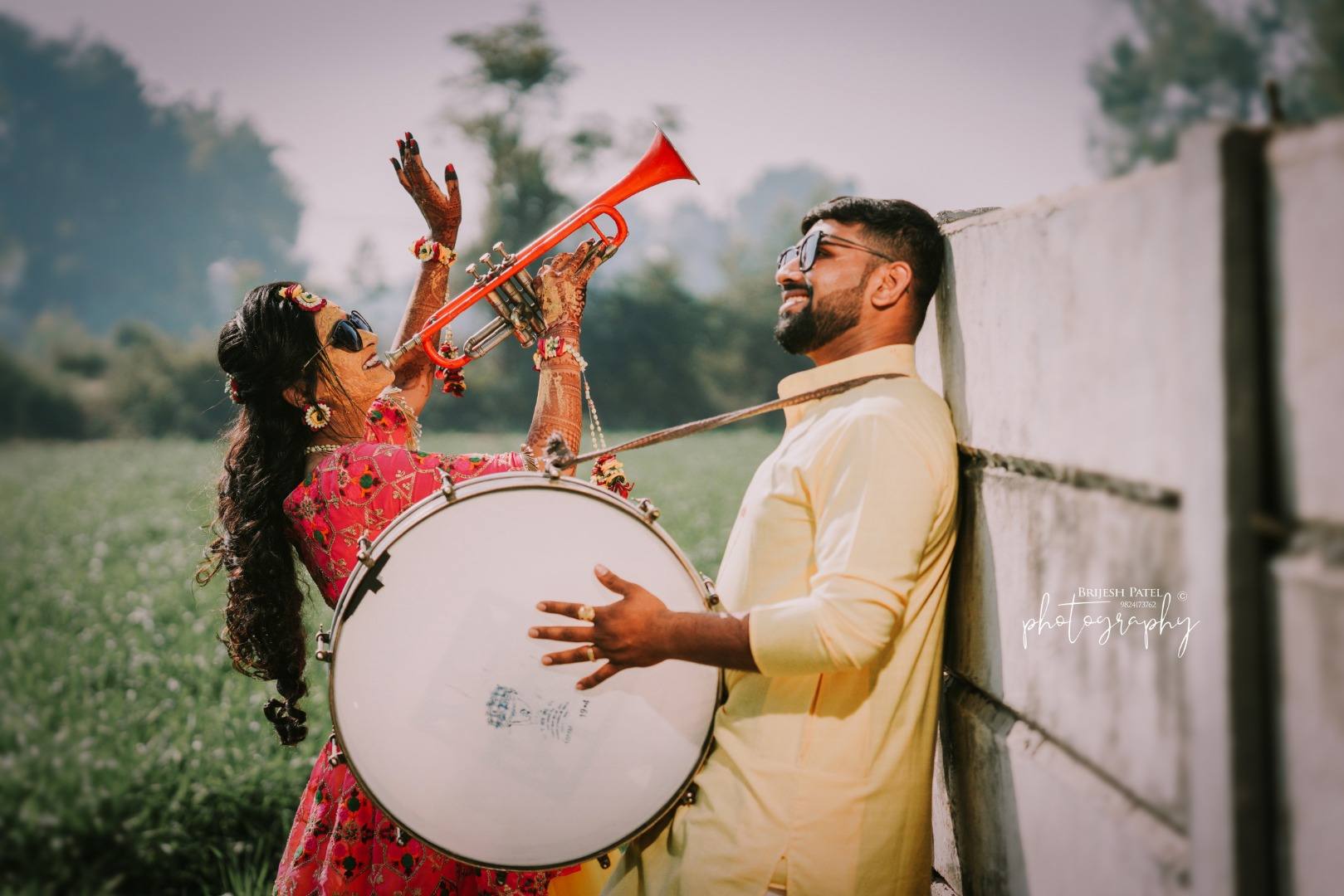 Cute Bride & Groom Picture with Trumpet & Dhol