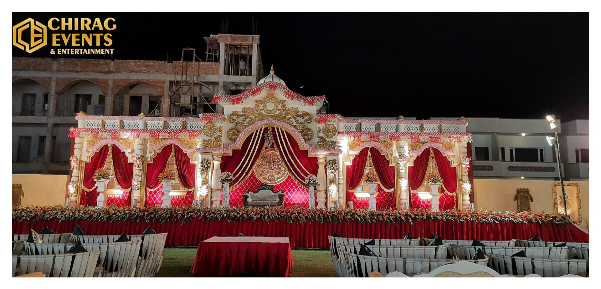stage decorated in the shades of red