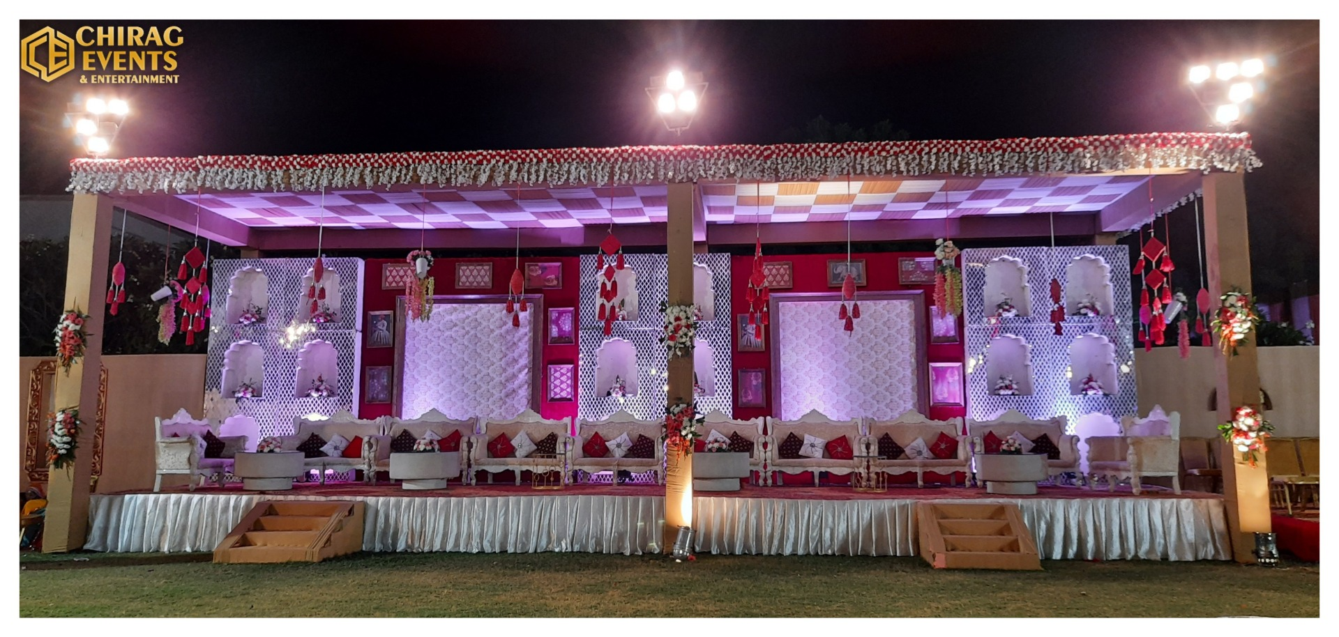 stage decorated in white and red accents