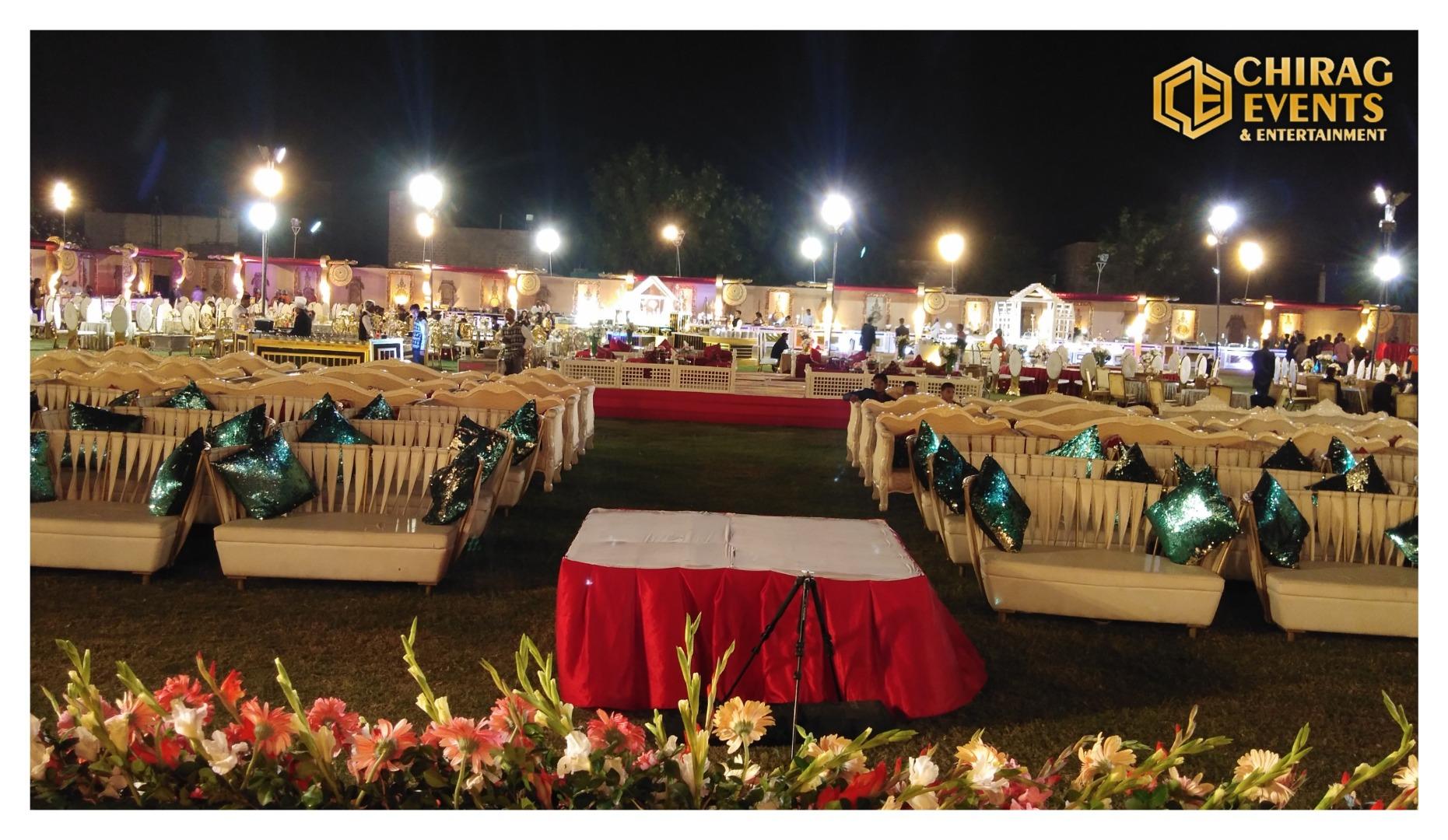 outdoor wedding venue decorated