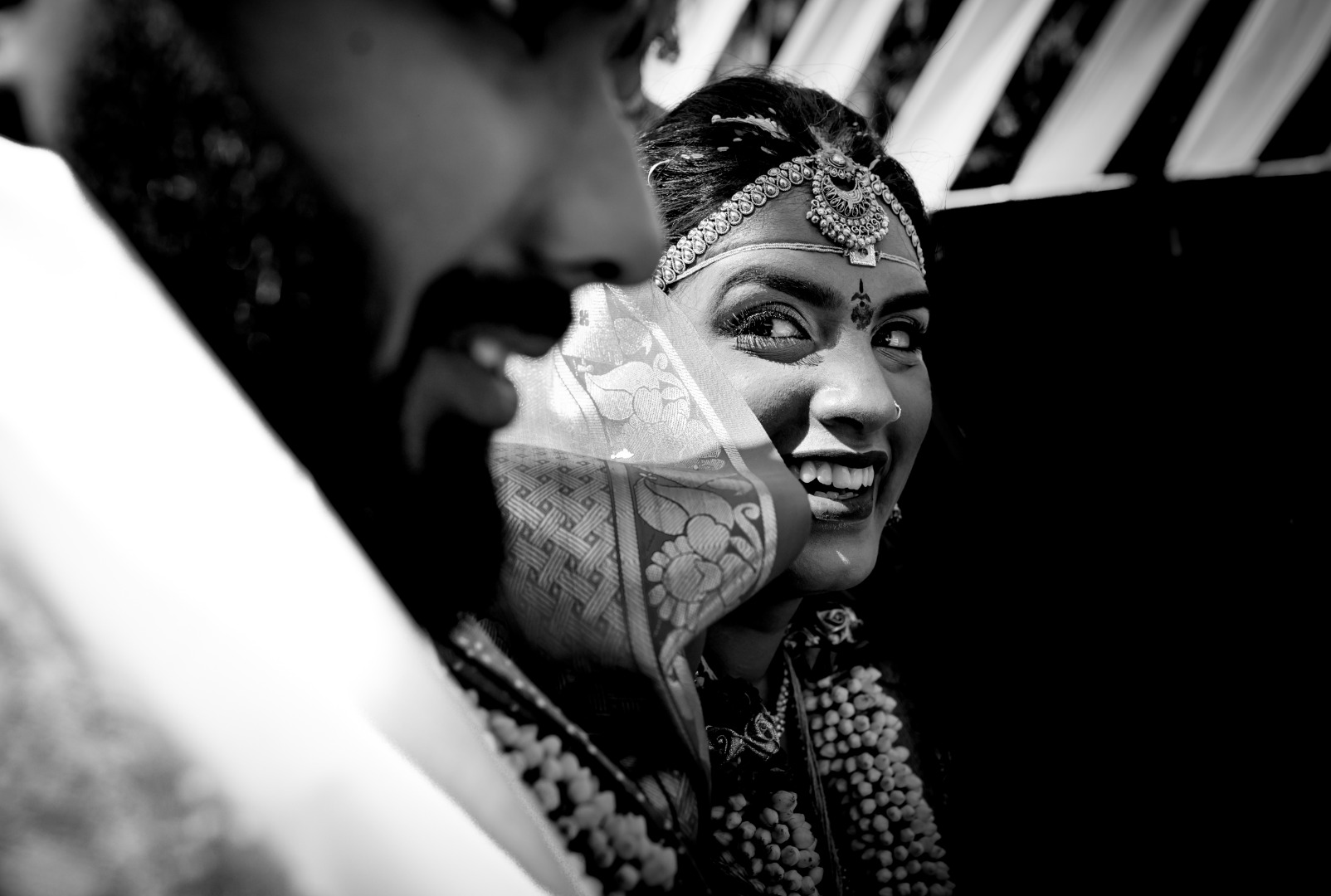 candid shot of a happy bride