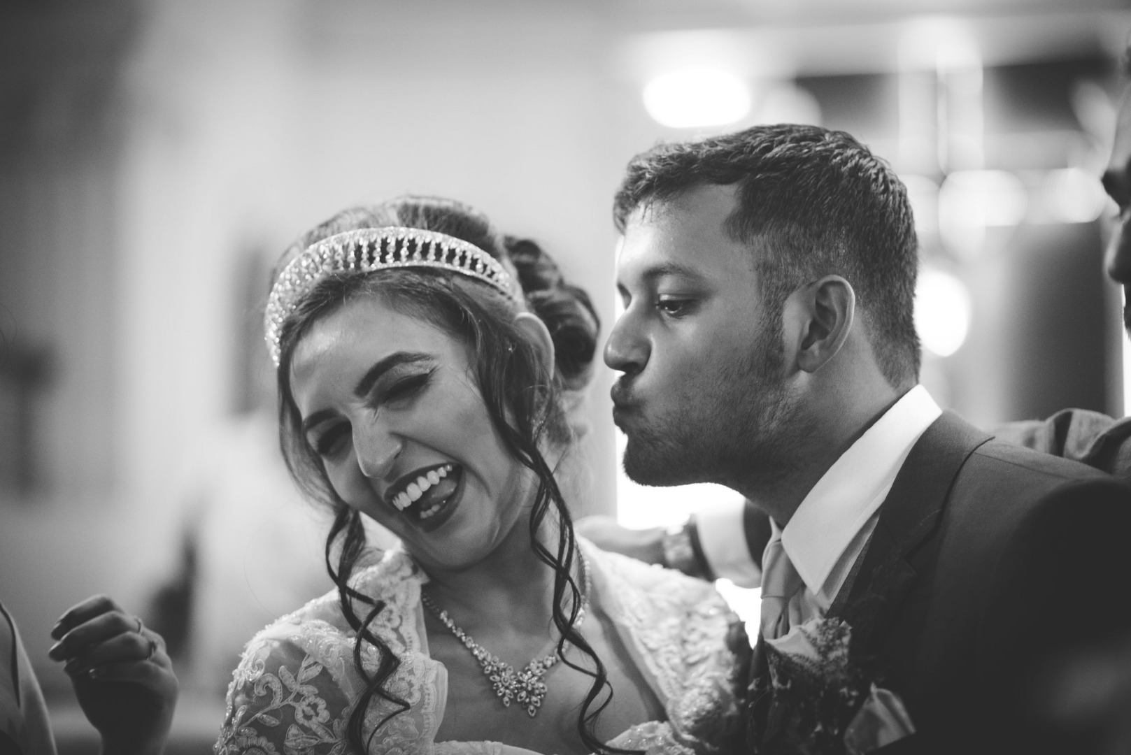 bnw shot of the happy couple