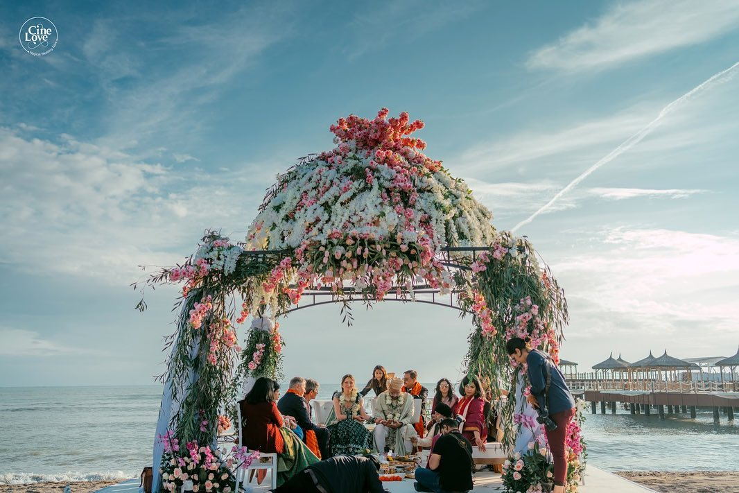 Indian Wedding in Maldives at a Water Villa with a Pastel Floral Mandap