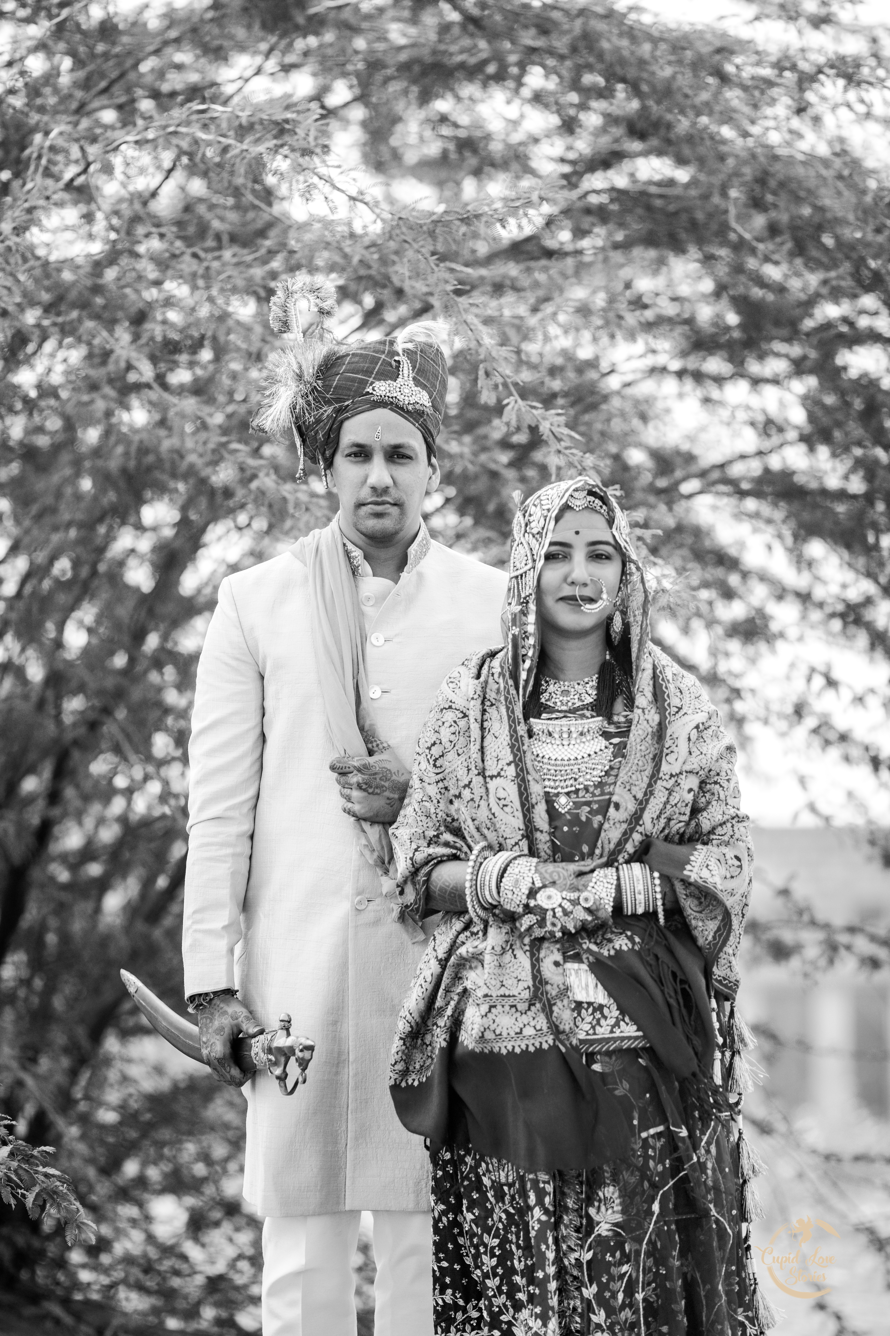 Black and white couple portrait of newly weds
