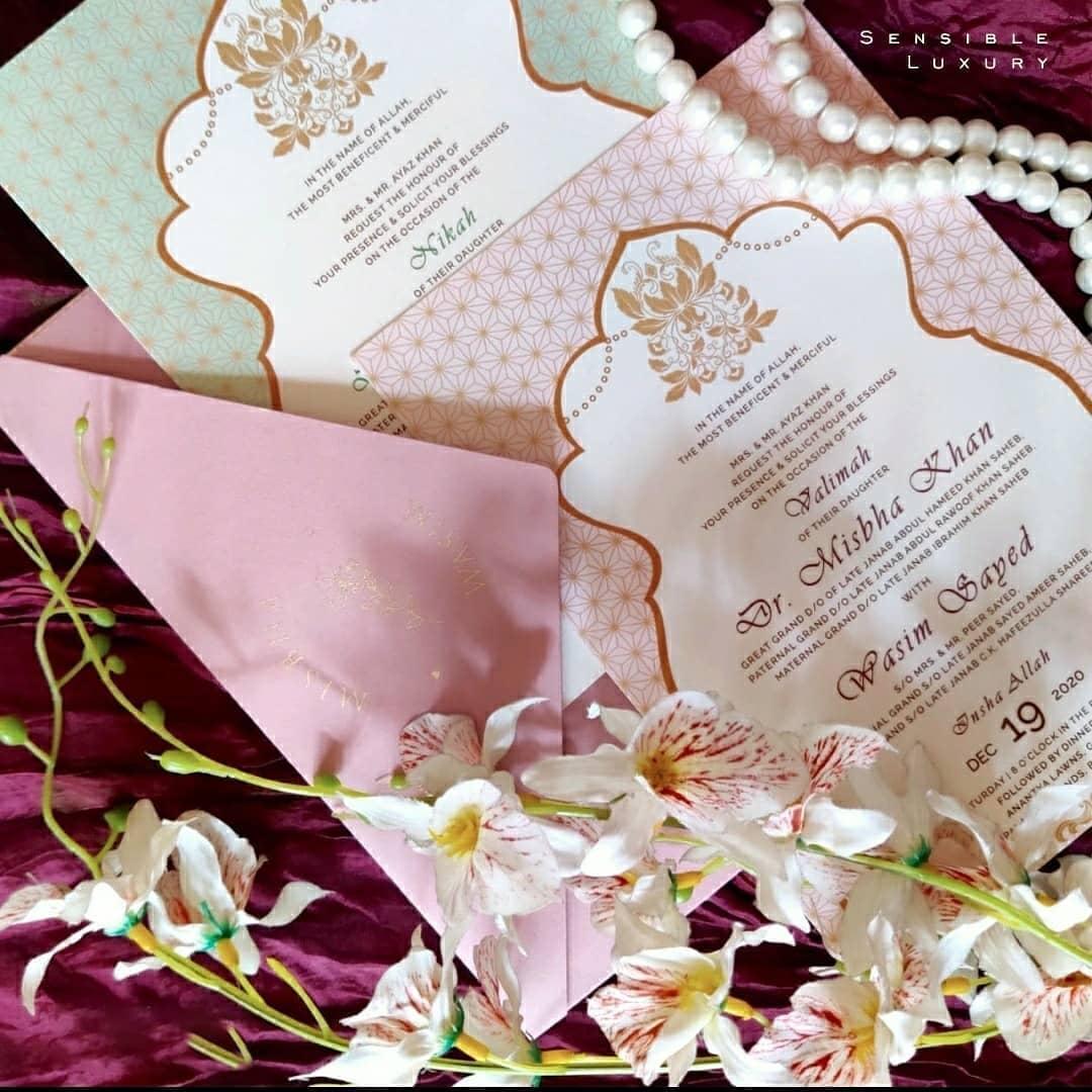 pastel themed wedding invite