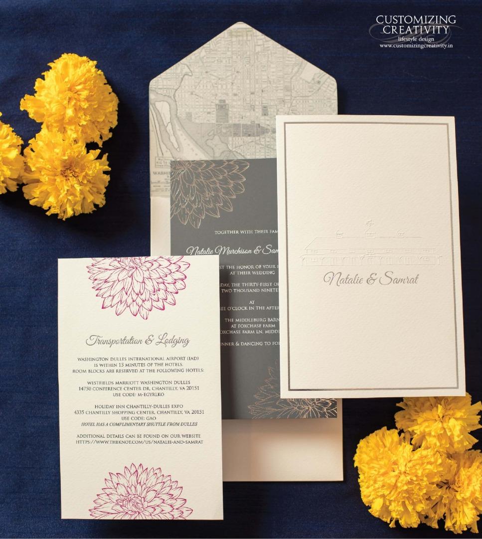 Grey & White Minimal Floral Printed Wedding Invitation Cards