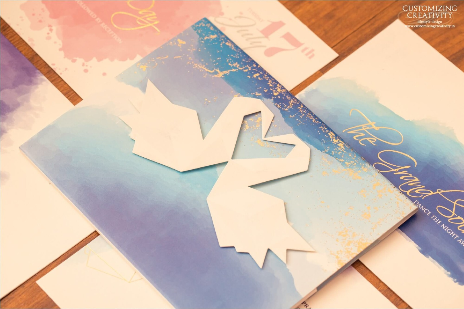 Origami Theme Gold Foil Printed & Water-color Painted Wedding Invites