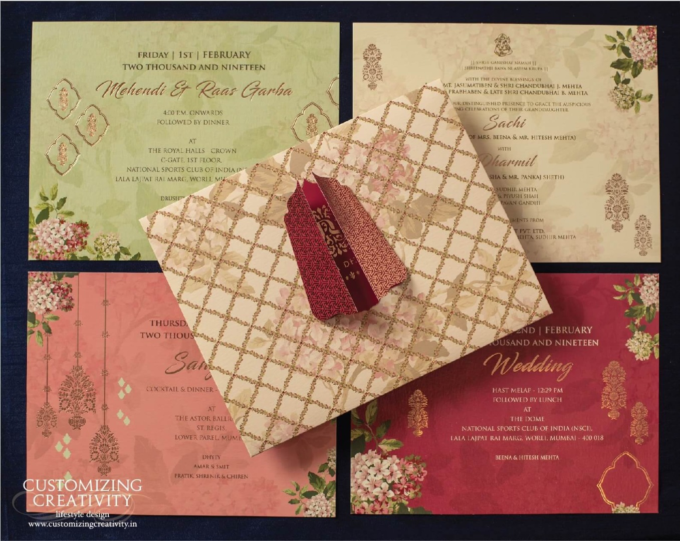 Multi-color Floral & Gold Foil Printed Cut Work Wedding Invitation Card