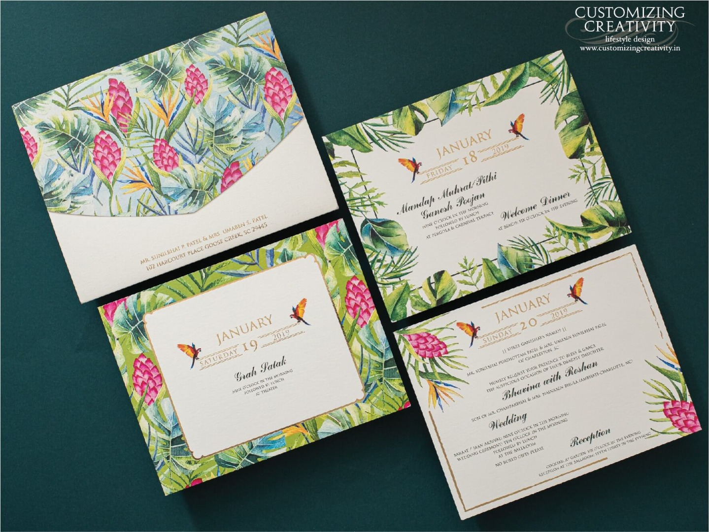 Tropical Theme Floral Printed Wedding Invitation Cards