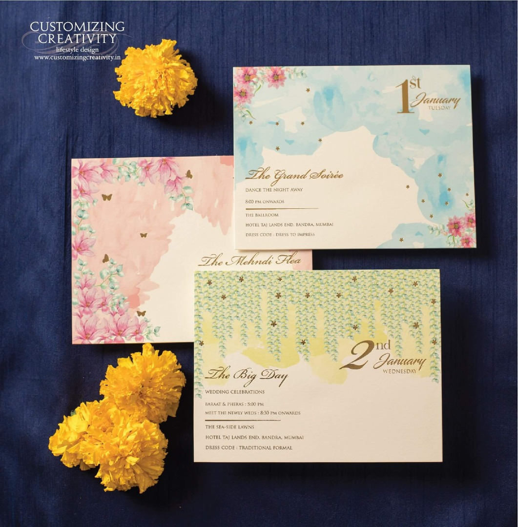 Colorful Pastel Water-color Painted Wedding Invitation Cards