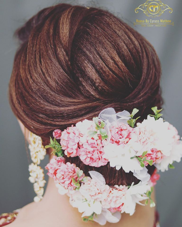 Bridal Bun with Flowers