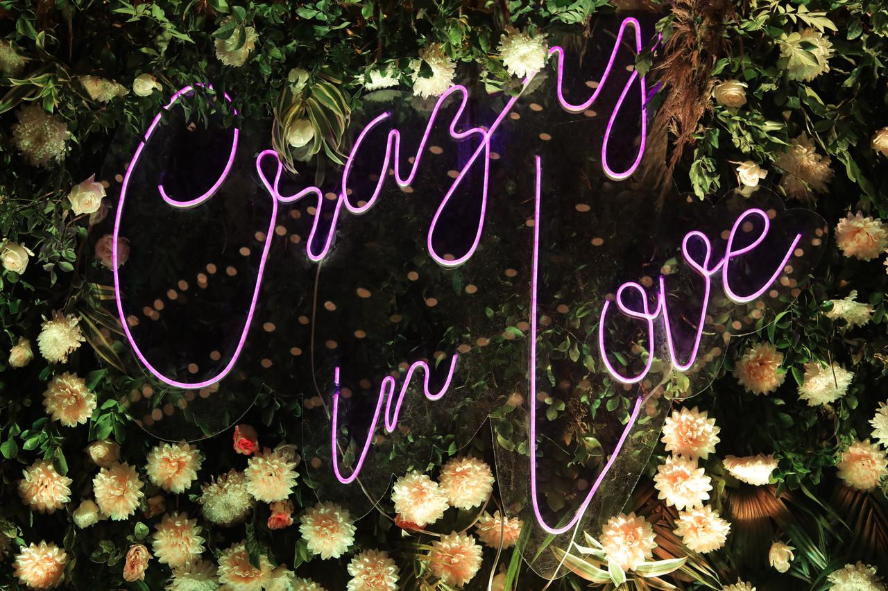 neon lights and floral decor