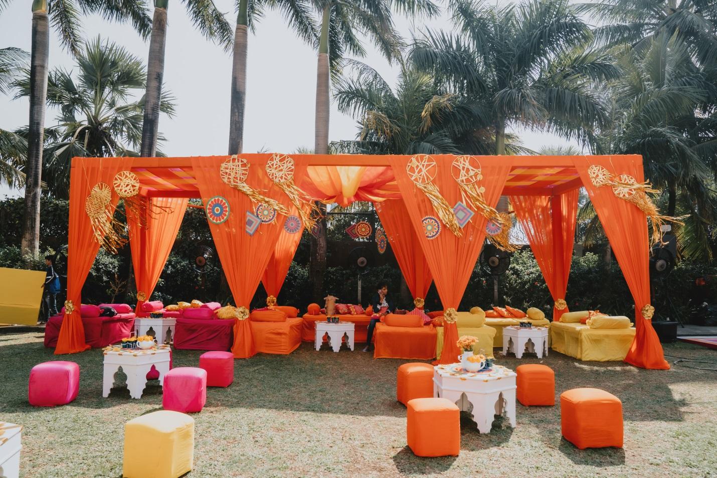 Decoration for haldi and mehendi ceremony