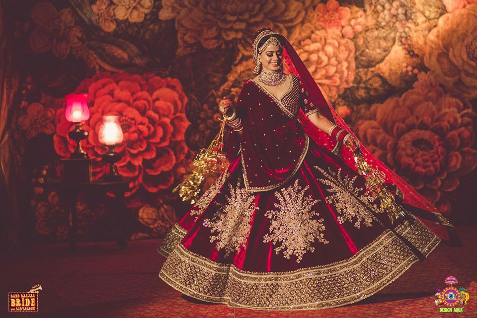 Beautiful Bride Twirling in Sabyasachi Lehenga for NDTV's Band Baaja Bride