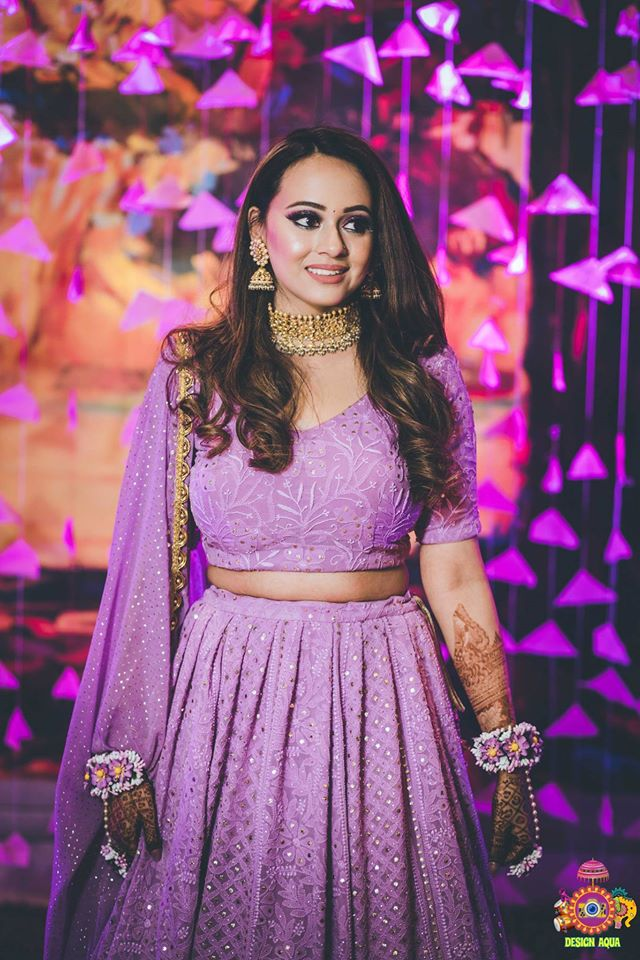 Beautiful Bride in Pastel Lavender Chikankari Lehenga & Floral Jewellery for Mehendi Ceremony