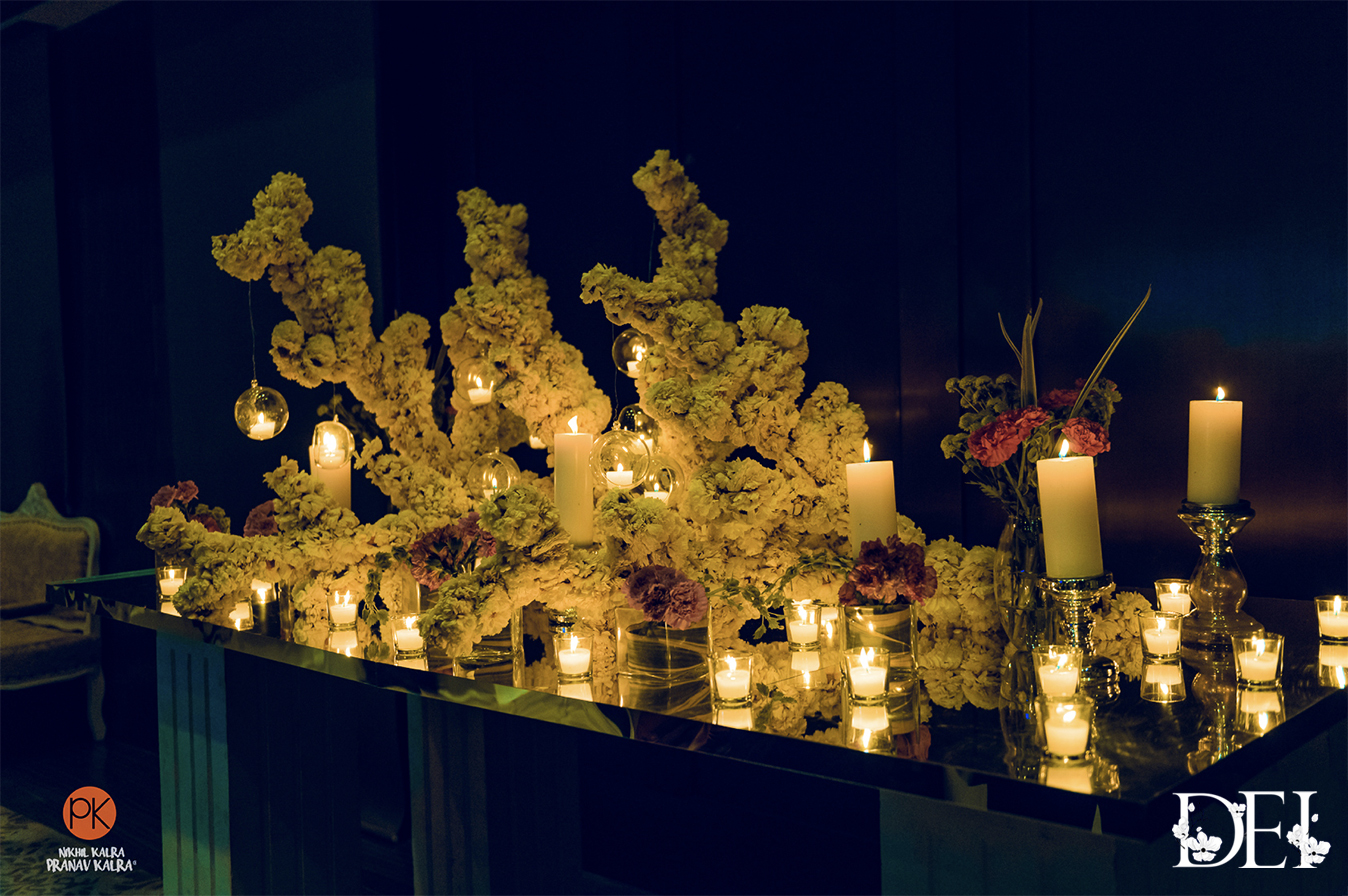 Beautiful Flower and Candles Table Decor