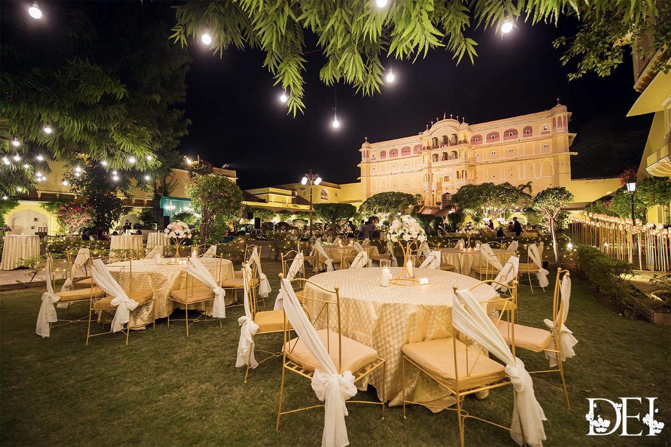 Indian Wedding Guest Seating Decor with beautiful White Themed Tablescapes